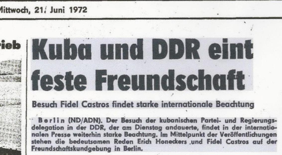 Staatsbesuch Fidel Castro am 21.06.1972 in der DDR-Auszug aus der Zeitung Neues Deutschland kurz.jpg